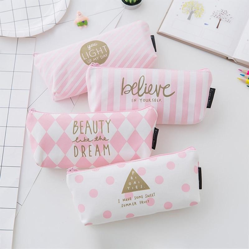 Pen-Box Pencilcase Korean Stripe Stationery School-Supplies Girls Cute Canvas For Pink