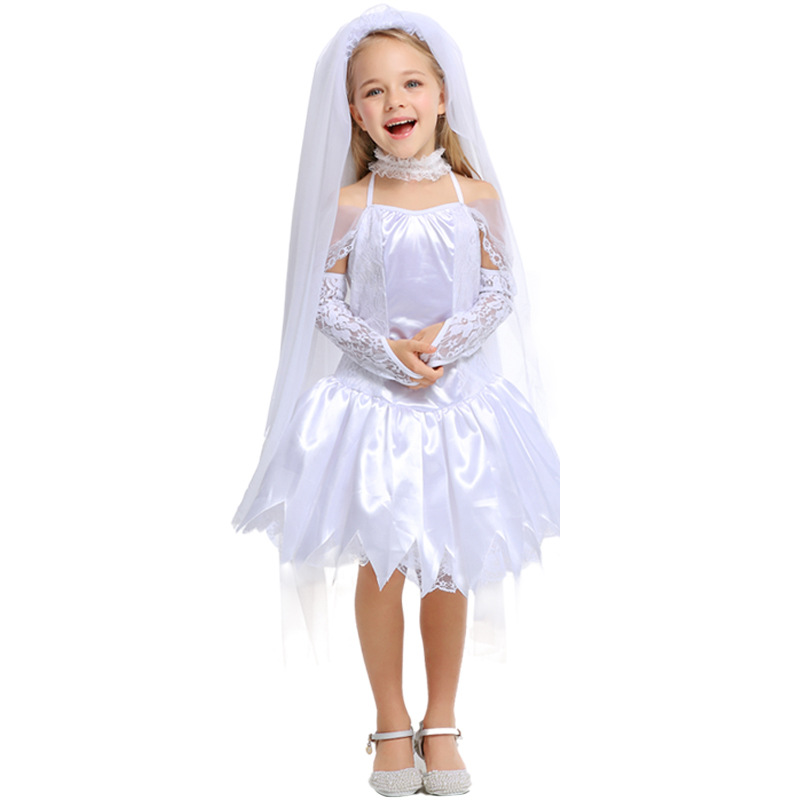 Girls White Angel Corpse Bride Vampire Witch Dress Halloween Costumes Cosplay For Kids Party Carnival  Uniform DS Clubwear