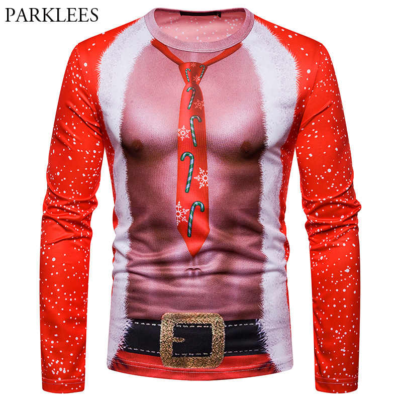 Ugly Christmas T Shirt Men 2018 Funny 3D Fake Two Piece