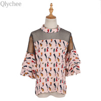 Qlychee Ruffle Flare Sleeve Print Mesh Hollow Out Patchwork Blouse Women Summer Fashion Turtleneck Short Sleeve