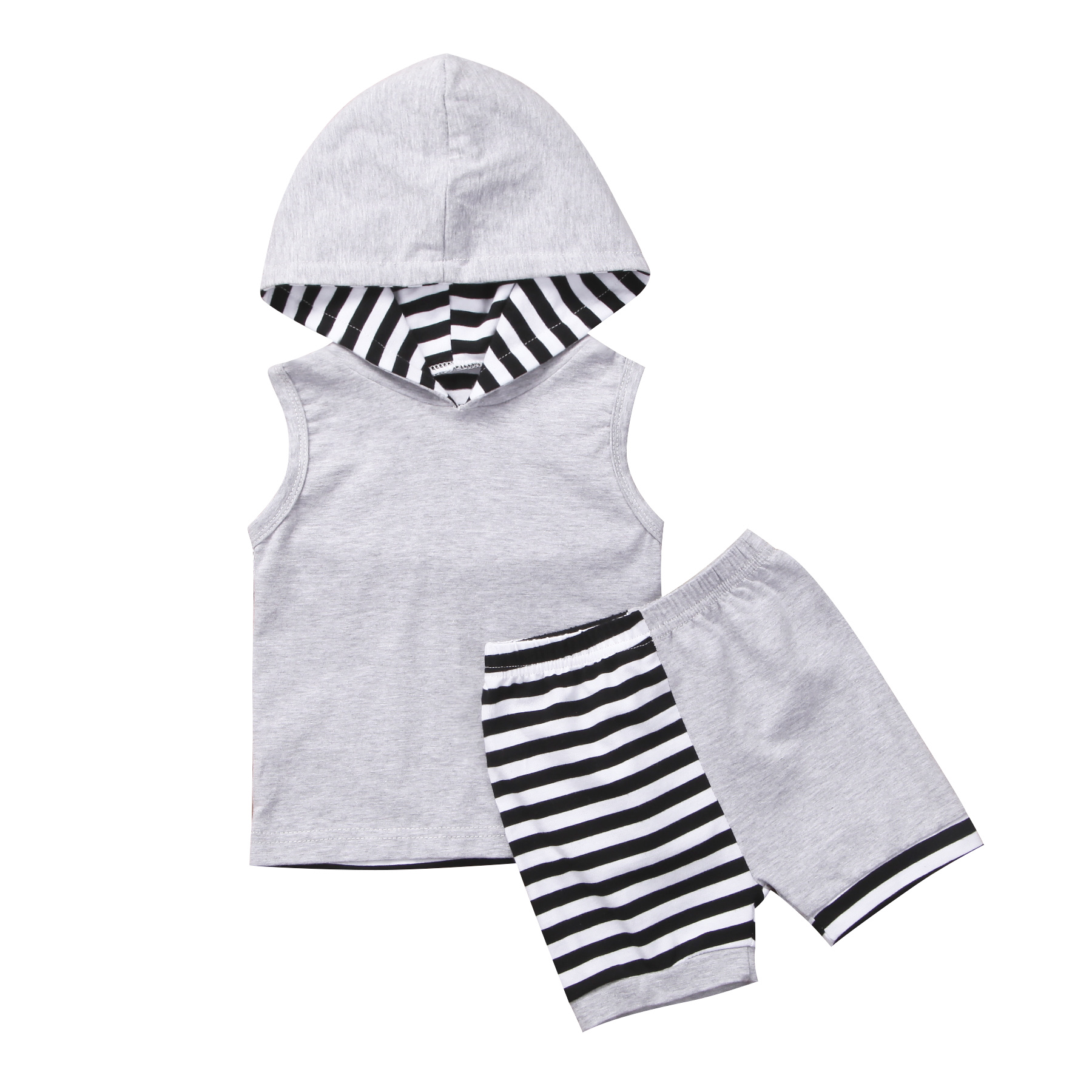 2018 new summer casual Kid Toddler Baby Boy sleeveless Gray Clothes Hoodie Top striped Short Pant cute kid 2pcs Outfit set