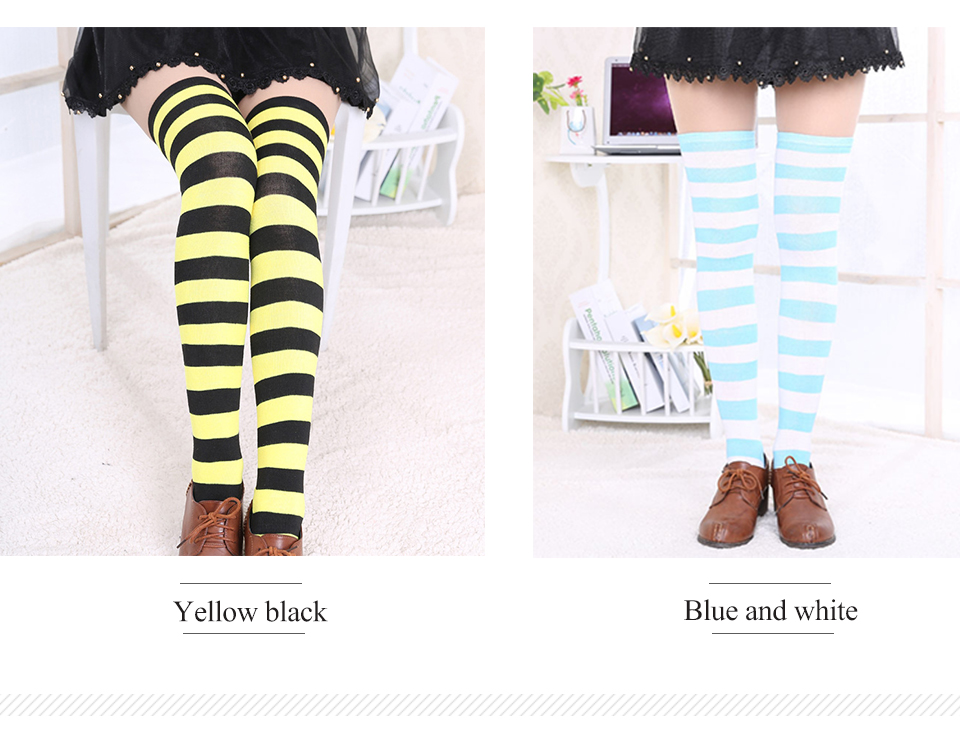 1Pair New Women's Over The Knee Large Size Stockings Sexy Thighs High Stripes Pattern Sock 6 Color Sweet Cute Warm Winter 2019 (5)
