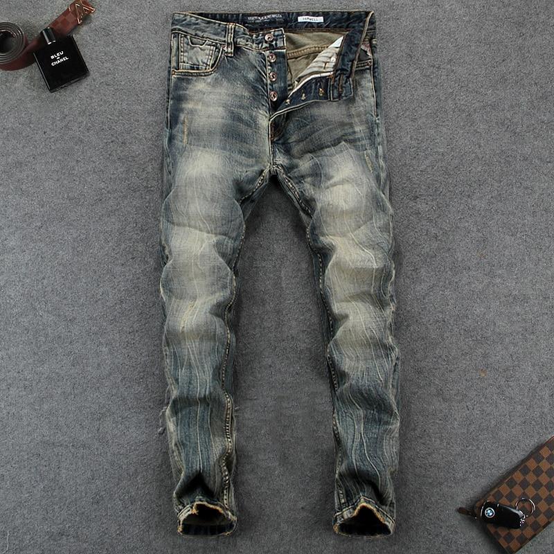 Italian Vintage Designer Men's Jeans High Quality Slim Fit Nostalgia Style Buttons Pants Classical Jeans Brand Basic Jeans Men