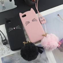 Cute 3D Cartoon Silicon Cases for iPhone 7 Plus Glitter Beard Cat Lovely Ears Kitty Cover for 8 6 6s 5 5S SE X 4 4s XS Max XR(China)