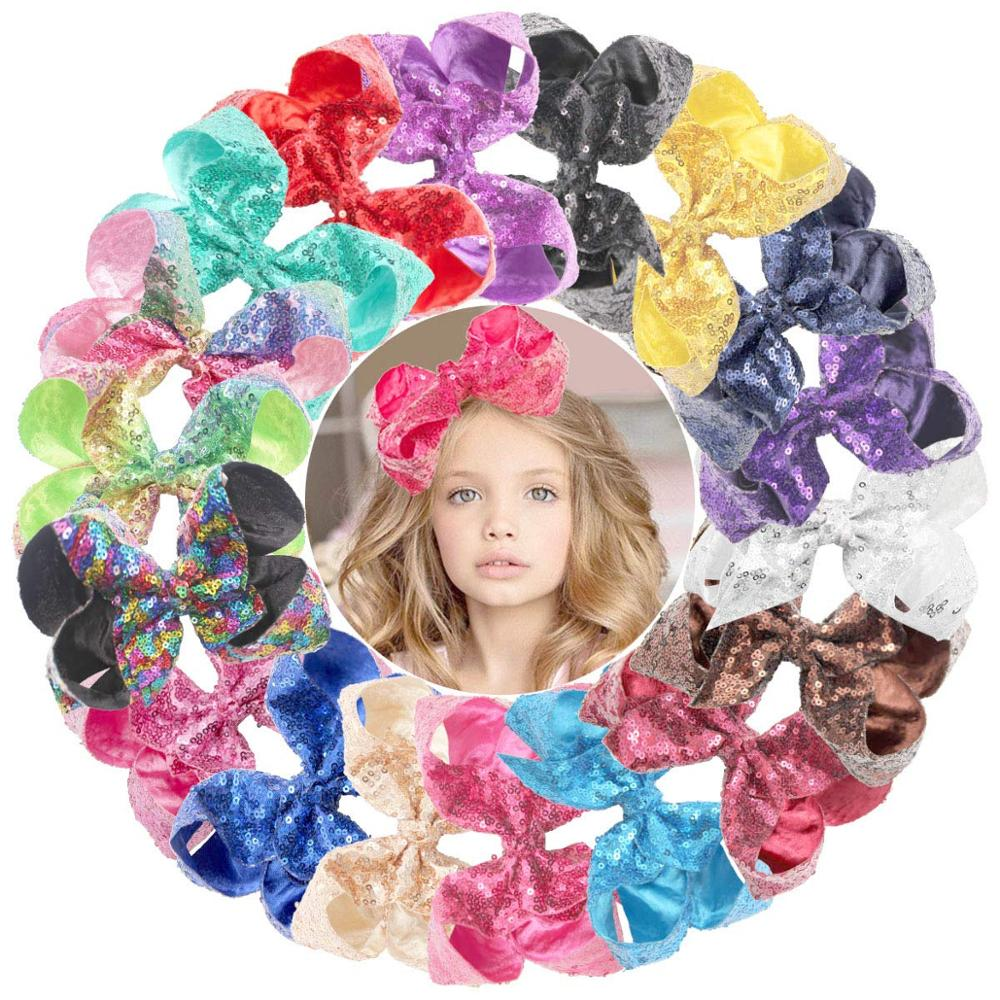 18 Pcs  Glitter 6 Inch Hair Bows Clips Rainbow Sequins Alligator Clips Hair Accessories For Baby Girl Toddlers Kids