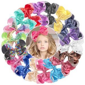 Image 1 - Pinzas para el pelo con lazo para niña pequeña, pinzas para el pelo con purpurina de 6 pulgadas, 18 Uds., pinzas de cocodrilo de arco iris de lentejuelas, accesorios para el cabello
