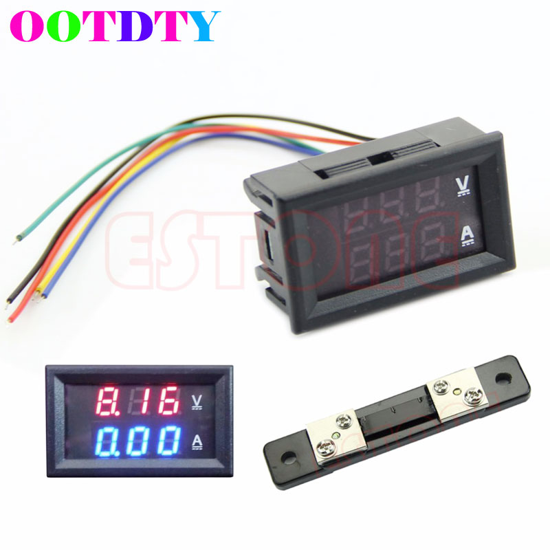 2017 Dual LED Digital Voltmeter Ammeter Amp Volt Meter DC 100V 50A + Current Shunt MAR18 0 28 led dual display digital current voltmeter shunt black 50a 75mv