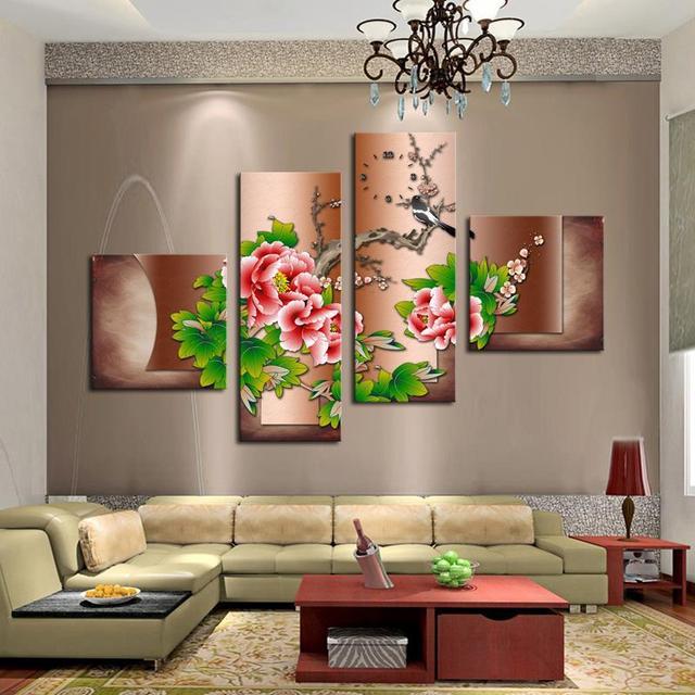 Comprar venta caliente 4 unids flores rojas grandes hd pared cuadros para sala - Cuadro para pared ...
