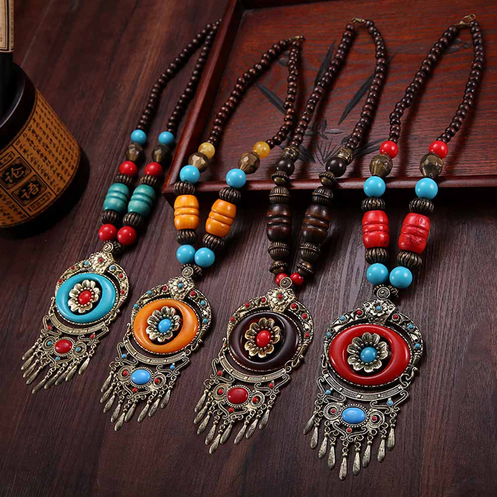 1/Pc Retro Blue/Red Vintage Bohemia Bib Tibetan Silver Color Pendant Long Chain Sweater Necklace New High Quality Women