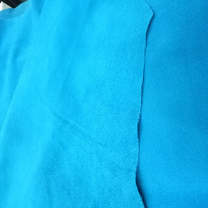 Blue Genuine Goat   Suede     Leather   Fabric ,Soft Second layer for shoe/bag/liner/DIY,Free Shipping
