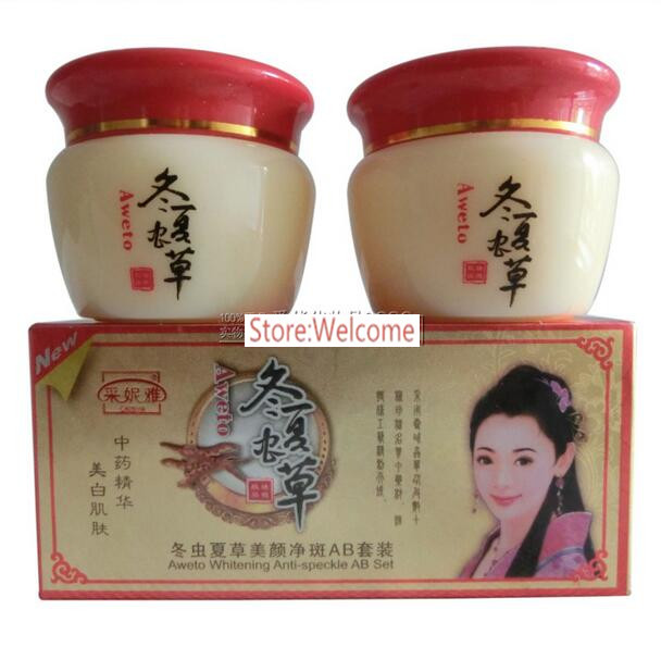 Chinese Aweto Whitening Anti-Acne Day Night Cream Set Melasma Dark Age Dark Spots Freckle Remover Skin Lightening Skin Care