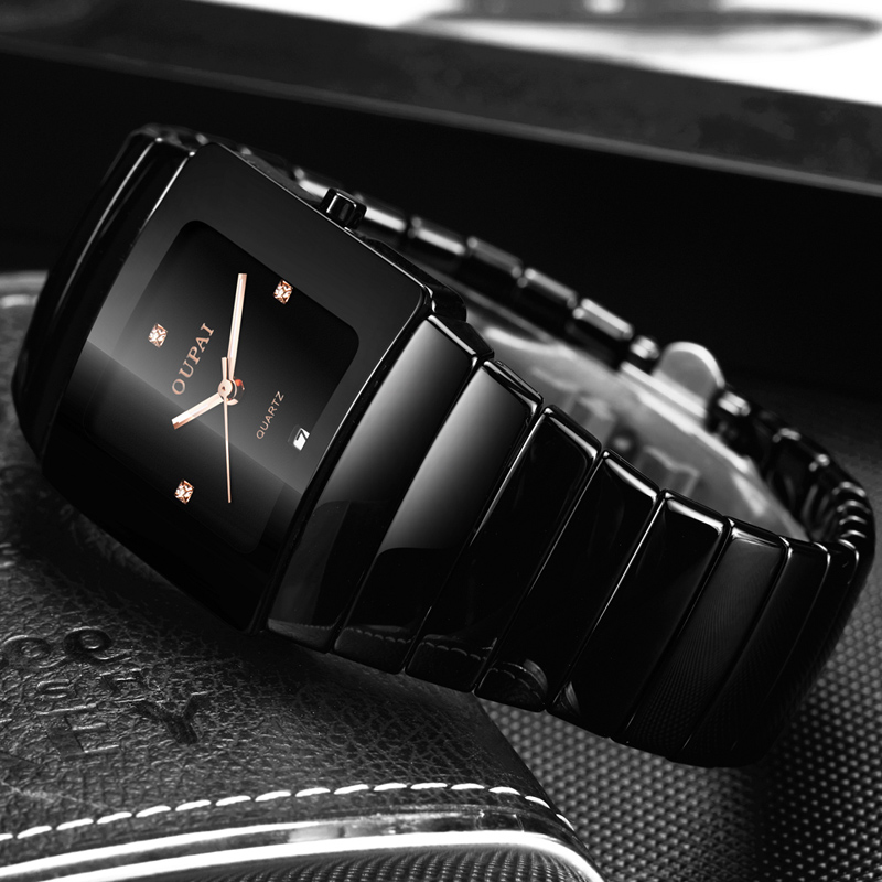 OUPAI Classic Black Tonneau Ceramic Watch New Fashion Squre Quartz Watch Men Waterproof With Calendar Luminous Black Sport Watch