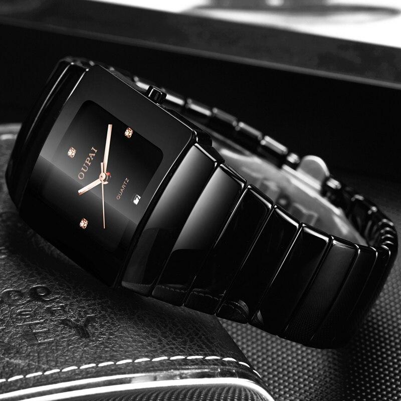 OUPAI Classique Noir Tonneau Montre En Céramique Nouvelle Mode Squre Quartz Montre Hommes Étanche avec Calendrier Lumineux Noir Sport Montre