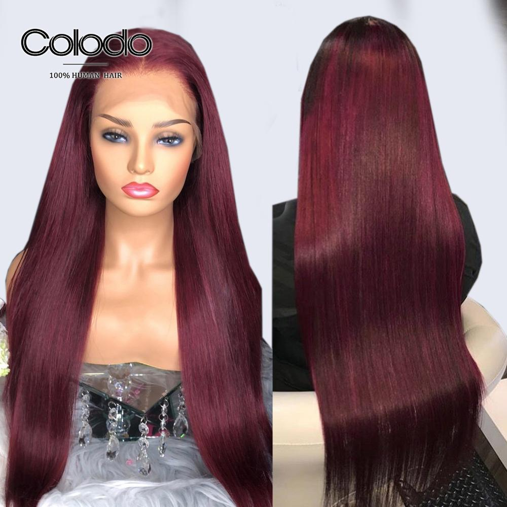 COLODO Burgundy Lace Front Wig Brazilian Remy 99j Straight Wig With Baby Hair Pre Plucked Full Lace Human Hair Wigs For Women
