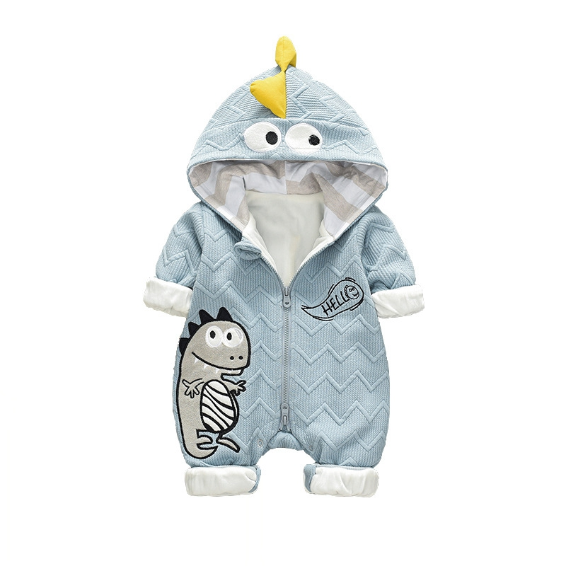 Newborn Infant Winter   Rompers   New Fashion Cartoon Boy Girl Jumpers Long Sleeve Warm Cute Kids Baby Outwears Zipper Outfits 0-18M