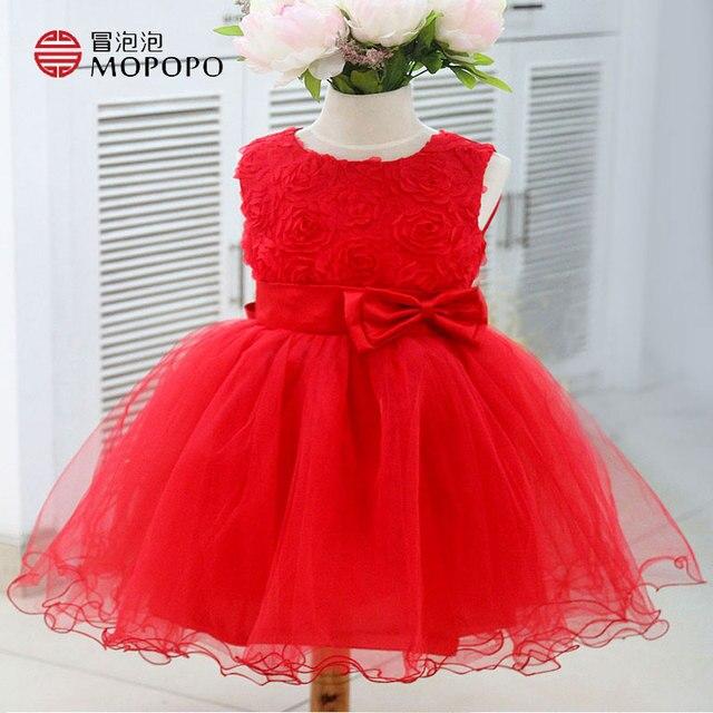 Дети Летние Цветы Малышей Девушка Свадебные Платья 2016 Девушки Красный Рукавов Платье Принцессы Девушки Цветка Платья Для Свадьбы