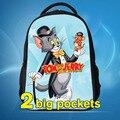 2016 Novo Design das Crianças Dos Desenhos Animados 3D Mochila para Meninos, Tom e Jerry Crianças Mochilas Escolares, Animais Quente e gatos Rato Mochila