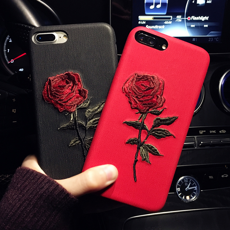 HTB1A2UZRFXXXXXTXXXXq6xXFXXXP - Hot Sale! Elegant Embroidery Rose Flower phone Case for iPhone 6 /6S /Plus Light Women Stylish Art Vintage phone Back Cover PTC 292