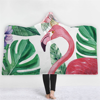 3D Flamingo Tropical Plants Printed Pink Hooded Blanket for Adults Kids Pink Fleece Woman Throw Blankets Microfiber on The Sofa