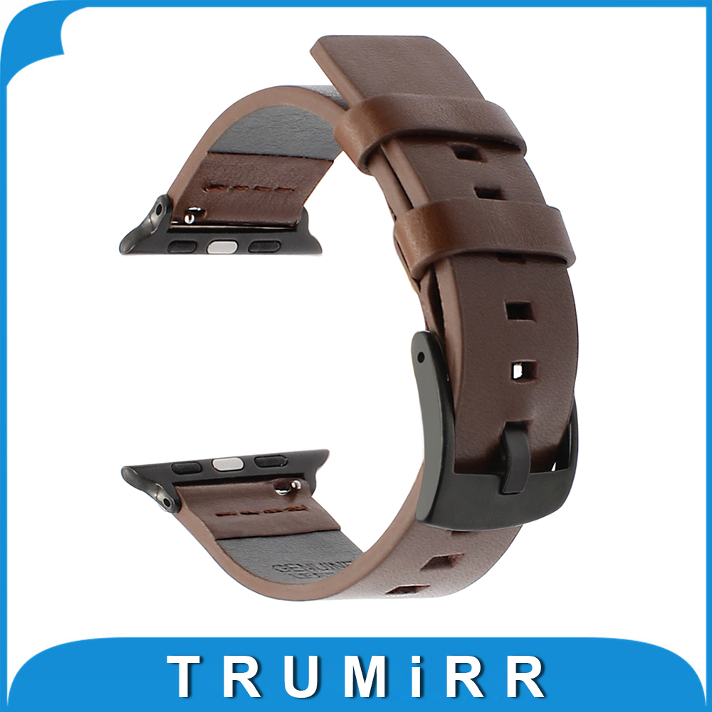 Italian Genuine Leather Watchband + Adapter for iWatch Apple Watch 38mm 42mm Series 1 2 3 Band Steel Buckle Strap Wrist Bracelet 6 colors luxury genuine leather watchband for apple watch sport iwatch 38mm 42mm watch wrist strap bracelect replacement