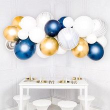 40pcs White Macaron Agate Black Marble Balloons Navy Blue Latex Balloon Gold Chorme Metal Garland For Wedding Birthday