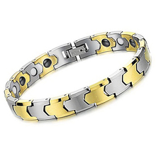 Mens Ladies Tungsten Bracelet, Silver & Gold Trendy Unisex Health Care Jewelry with Magnets WS935