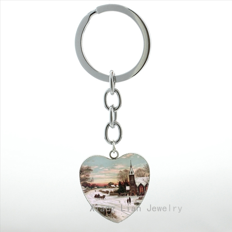 Merry Christmas ift Winter Snow Covered Landscape keychain vintage high quality handmade heart pendant key chain ring New HP454