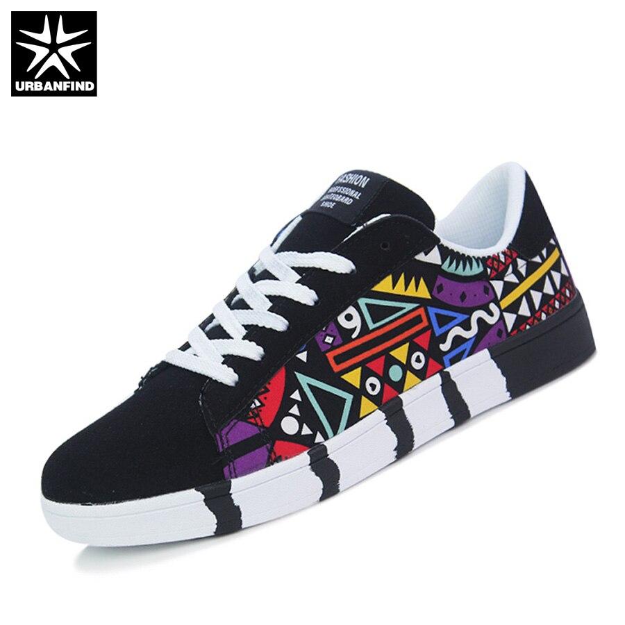 Urbanfind Модная Мужская обувь мужские тапки размеры 39–44 мальчик Повседневные принты Обувь Для мужчин дышащая парусиновая Кружево до Стиль тенденции обувь
