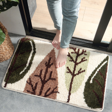 Green Leaves Thickened Flocking Door Mat Home Porch Anti-slip Doormat For Entrance Door Bathroom Absorbent Rug Floor Mat Carpet cute cartoon bathroom mat absorbent home environmental protection flocking mat door mat bedroom anti slip rug