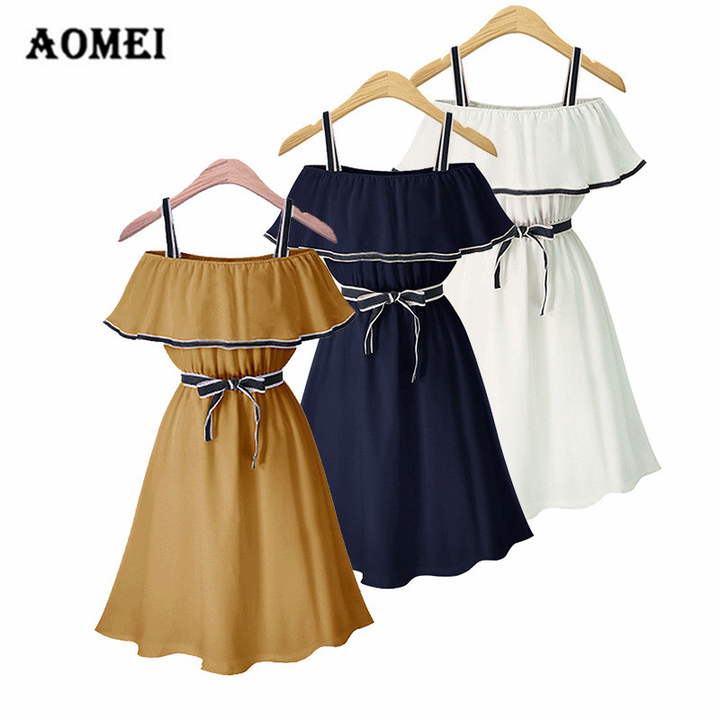 c299643007 White Dress Girls Cold Shoulder Ruffle Ladies Peplum Tunic Robes Bowtie  Lolita Party Summer New Dresses