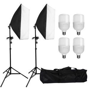 "Image 1 - ZUOCHEN 4 × 25 ワット Led 連続照明キット 20 ""× 28""/50 × 70 センチメートルソフトボックスソフトボックス写真スタジオセット電球ランプ写真ソフトボックス"
