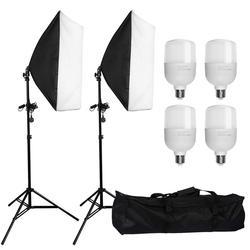 ZUOCHEN 4x25W LED Continuous Lighting Kit 20x28/50x70cm Softbox Soft Box Photo Studio Set Light Bulbs Lamp Photography Softbox