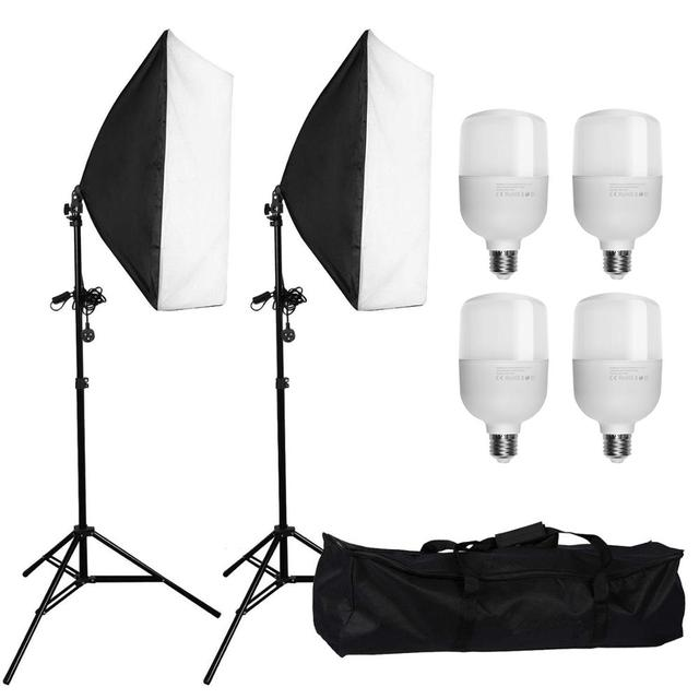 "ZUOCHEN 4x25W LED Continuous Lighting Kit 20""x28""/50x70cm Softbox Soft Box Photo Studio Set Light Bulbs Lamp Photography Softbox"