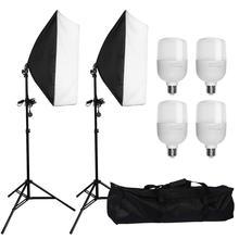 """ZUOCHEN 4x25W LED Kit déclairage continu 20 """"x 28""""/50x70cm Softbox boîte souple Photo Studio ensemble ampoules lampe photographie Softbox"""