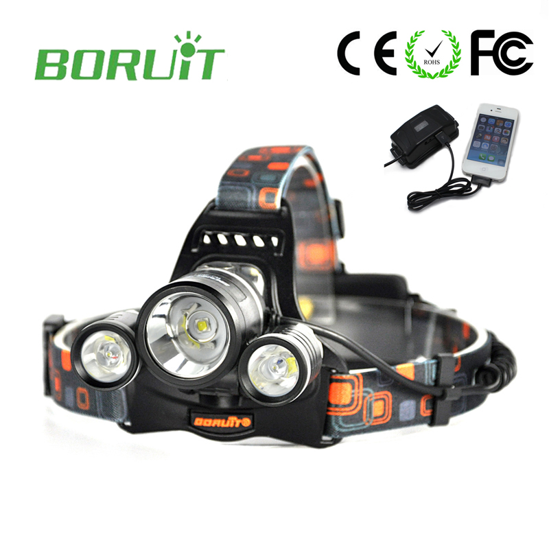 Boruit RJ-5001 Led headlamp Headlight 6000 lumens Linterna frontal 3 XM-L2 Hiking Flashlight head Torch light lamp with charger high quality led headlamp headlight 20000 lumens linterna 3x cree xml l2 hiking head light with charger headlamp 18650 battery
