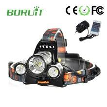 Boruit RJ-5001 Led headlamp Headlight 6000 lumens Linterna frontal 3 XM-L2 Hiking Flashlight head Torch light lamp with charger