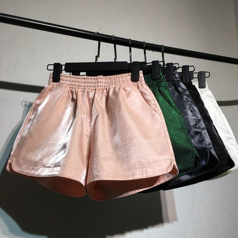 New Shorts Women Wide Leg High Waisted Short Feminino Casual Streetwear Beach Women Black /White /Green Mini Shorts Mujer Q1251