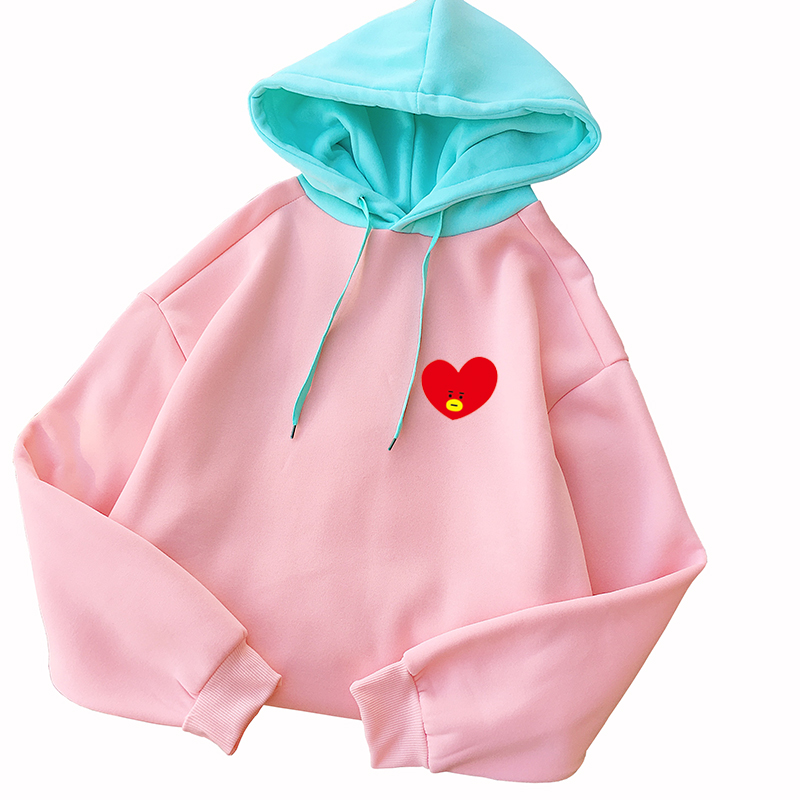 Bangtan Boys Kpop BT21 Hoodies Sweatshirt Frauen Koreanische Beiläufige Lange Hülse Fleece Patchwork Mit Kapuze Pullover Herbst Winter Kleidung