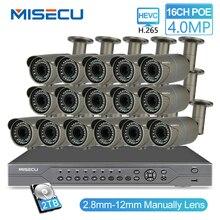 Kit MISECU H.265 16CH POE 48V NVR con 16 Uds 4MP Cámara POE 2,8 12mm lente Varifocal con sistema de videovigilancia 4TB P2P