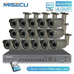 Image 1 - MISECU H.265 16CH POE 48V NVR комплект с 16 шт. 4MP POE камерой 2,8 12 мм варифокальный объектив с 4 ТБ P2P системой видеонаблюдения