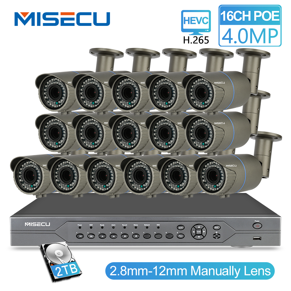 MISECU H.265 16CH POE 48V NVR Kit con 16 piezas 4MP POE Cámara, lente de distancia focal variable de 2,8-12mm la nube del sistema CCTV admite Vista de PC y móvil