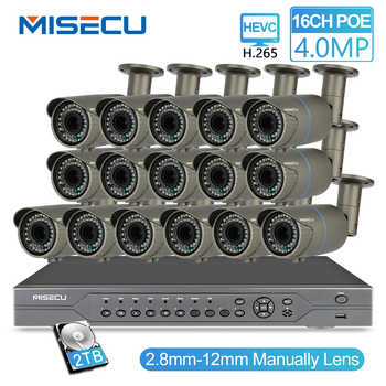 MISECU H.265 16CH POE 48V NVR Kit with 16 PCS 4MP POE Camera 2.8-12mm Varifocal Lens CCTV System Cloud Supports PC&Mobille View - DISCOUNT ITEM  58% OFF All Category