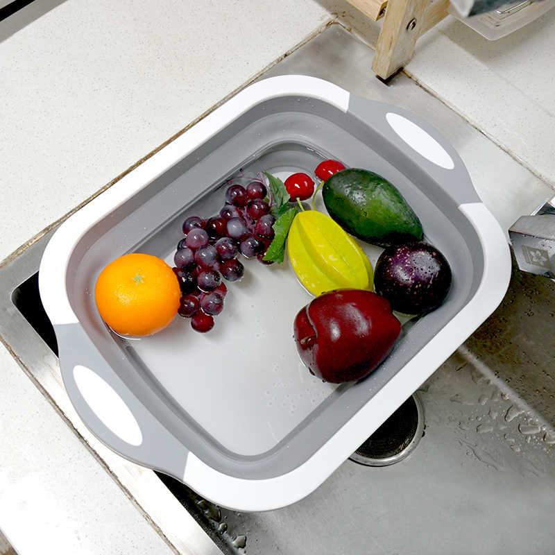 Многофункциональные кухонные режущие инструменты блоки Складная разделочная доска кухонные Силиконовые Раковины мытье овощей и фруктов корзина