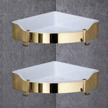 Ecke Regal Goldene Edelstahl + ABS Badezimmer Regale Chrom Wand Halterung Dreieck Dusche Caddy Rack Bad Zubehör