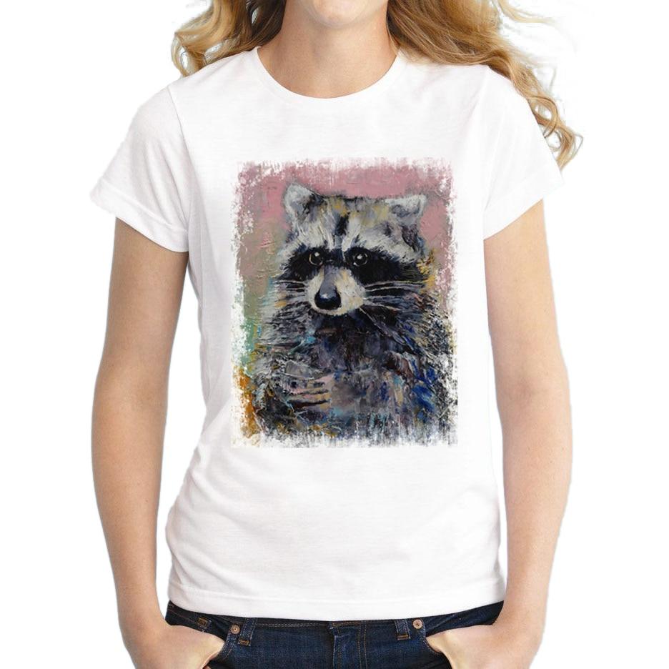 2016 newest fashion women raccoon retro printed t shirt for Who prints t shirts