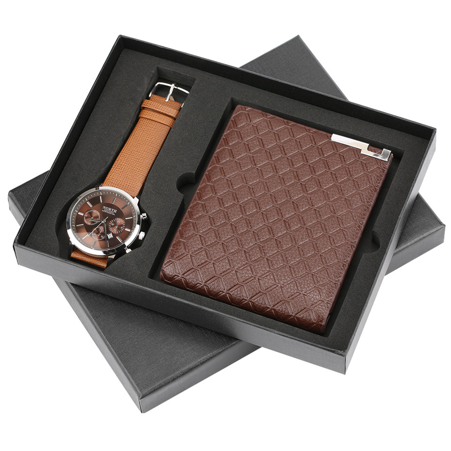 Horloge décontractée homme marron montre-bracelet hommes Quartz cadeau ensemble en cuir portefeuille montre pour homme pour petit ami sacs à main Reloj Masculino