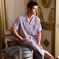 VENDA de 100% de Algodão 2016 Pijama de Algodão Pijamas Dos Homens dos homens do Verão Elegante Tarja Malha Casa Roupas para Homens calças de Pijama de Salão conjunto