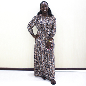 Image 1 - Mode Dashiki Kleid Taille Off Schulter Casual African Dashiki Frauen Kleid