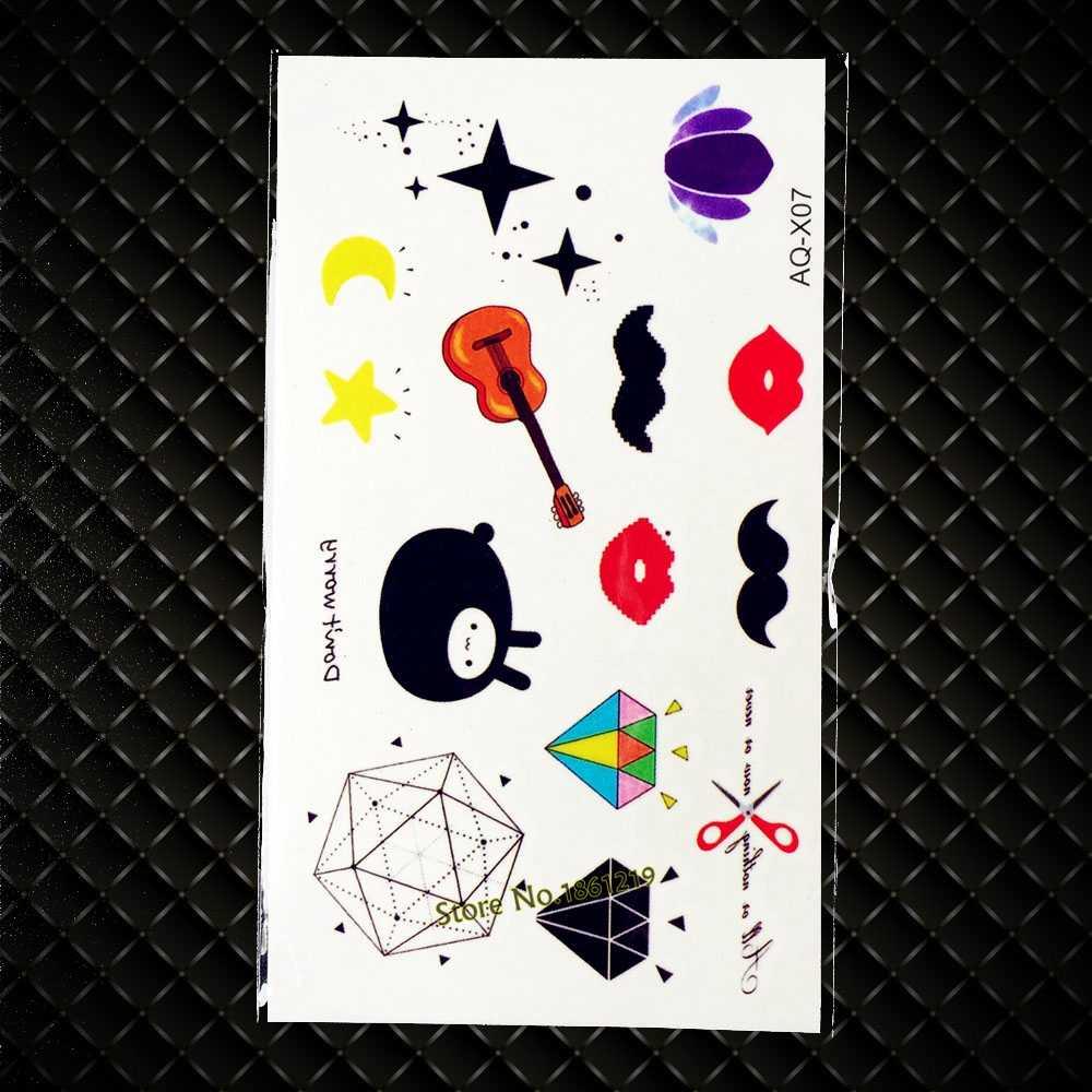 Mignon enfants corps bras temporaire tatouage cristal diamant Gem conceptions tatouage autocollants GAQ-X07 rouge à lèvres guitare motif Tatoos