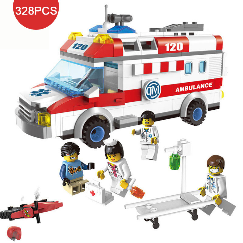 City Hospital First Aid Scenes Emergency Ambulance Car Vehicle Model Nurse Doctor Figures Building Block Brick Toy For Kids Gift 300ml colors changable led light essential oil aroma diffuser ultrasonic air humidifier mist maker for home& bedroom